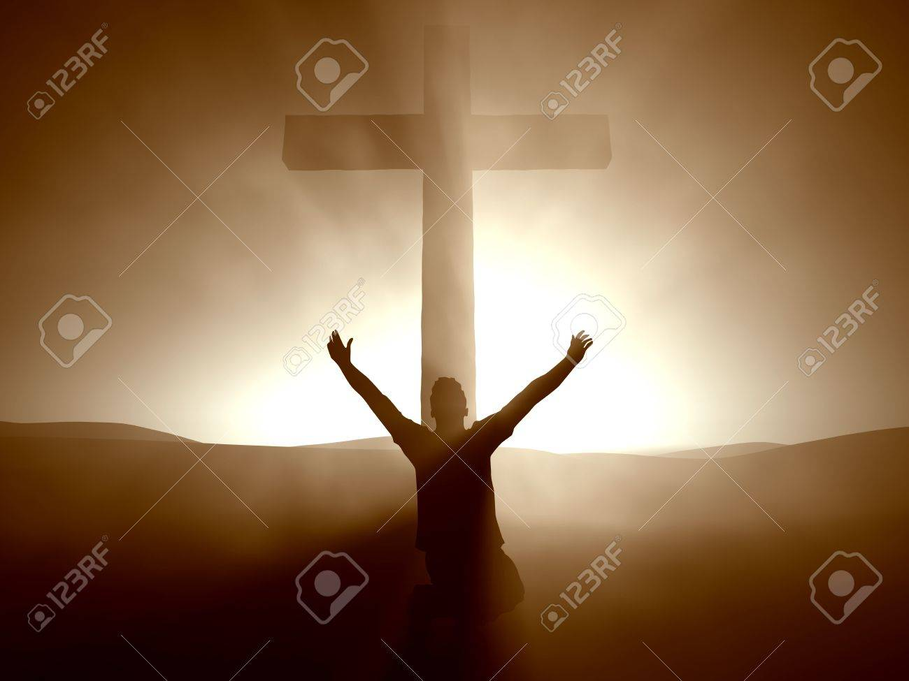 Silhouette of a man at the Cross of Jesus. - 7150677