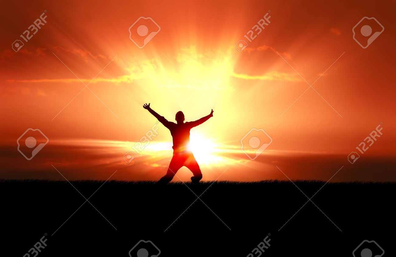 Silhouette of jumping man in field of grass, bright sun behind - 8873952