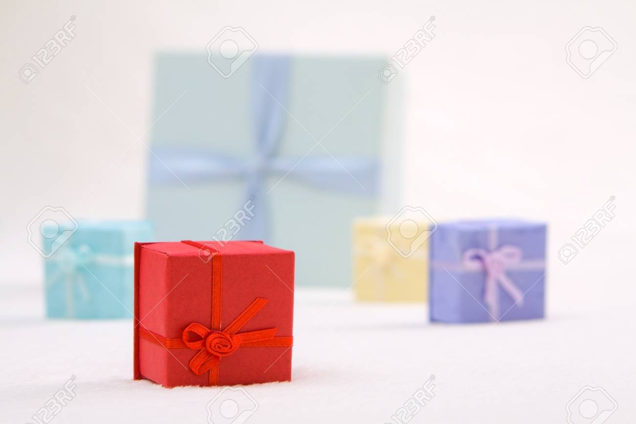 Mini colorful gift boxes on soft background Stock Photo - 16452016