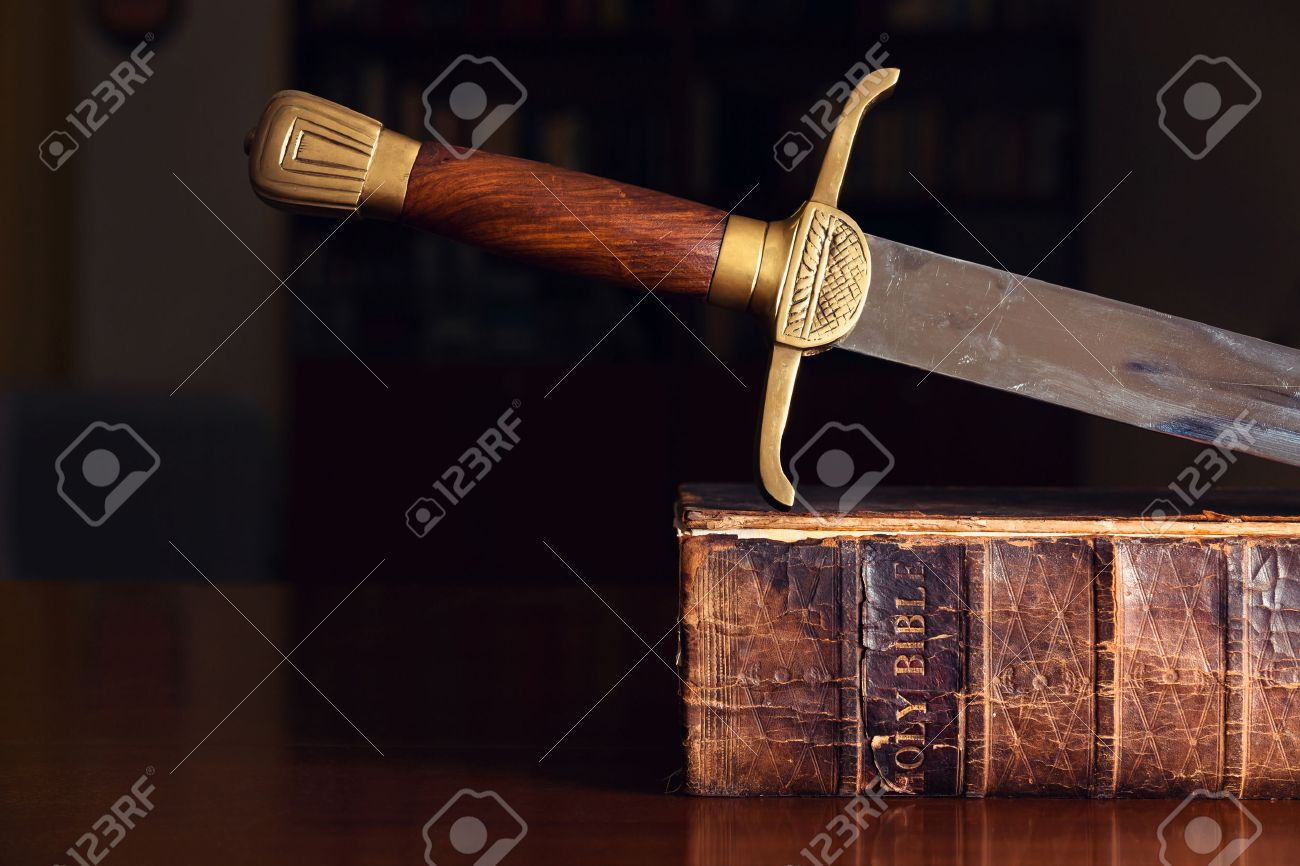 150 Year Old Bible With Sword - 28904819