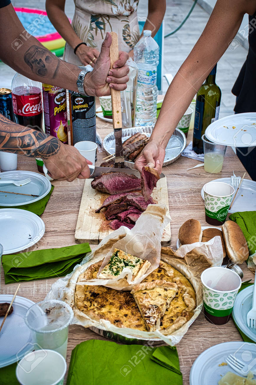 Milan, Italy, September 19, 2020: Grilled traditional Brazilian Picanha, it is a cut of beef that is popular and is widely consumed throughout Brazil - 159815980