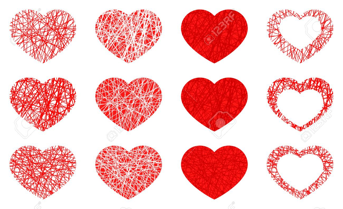 Set of isolated red heart icon, love symbol collection on white background. Vector illustration - 125016283