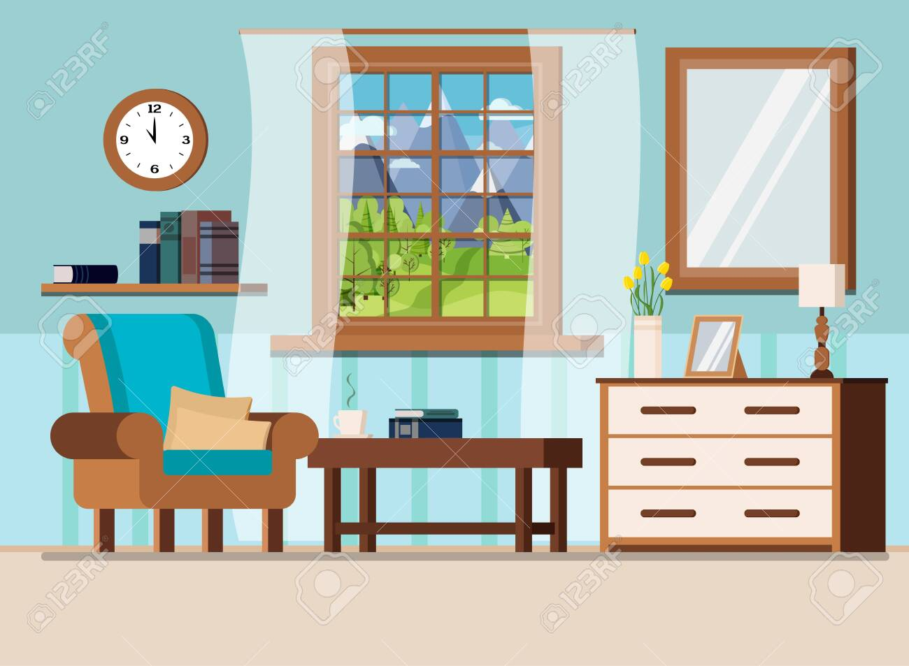 Cozy Home Interior Background With Coffee Table Lamp Armchair Royalty Free Cliparts Vectors And Stock Illustration Image 125016294