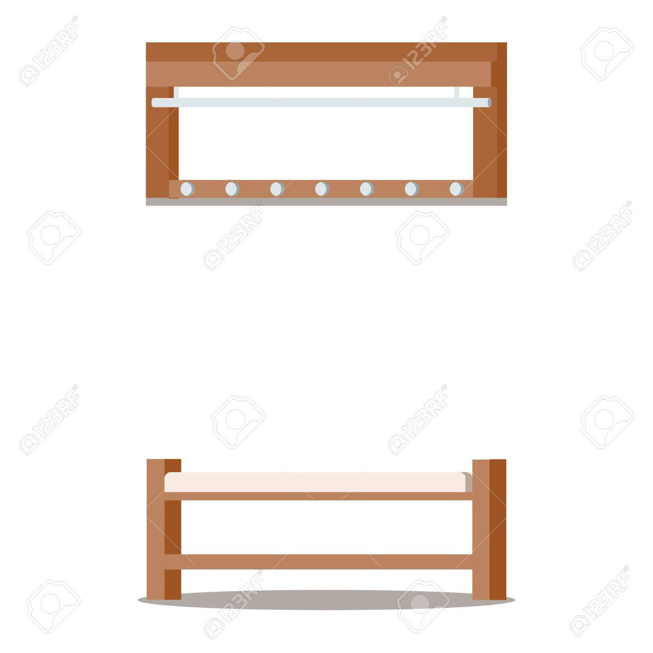Furniture for cozy home entrance hall interior: wooden clothes..