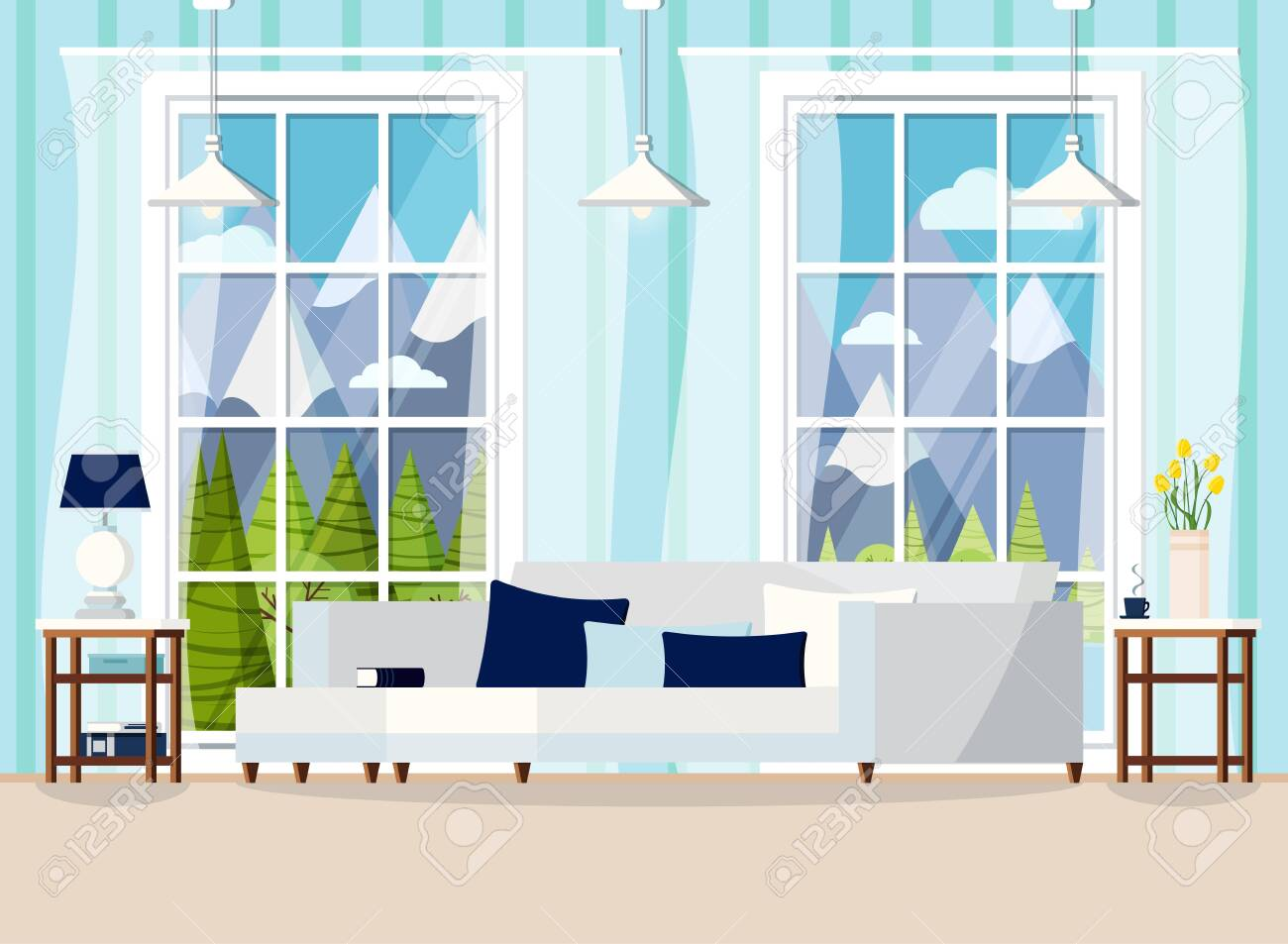 Cozy Living Room Home Interior Background With Sofa Lamp Two Royalty Free Cliparts Vectors And Stock Illustration Image 126057940