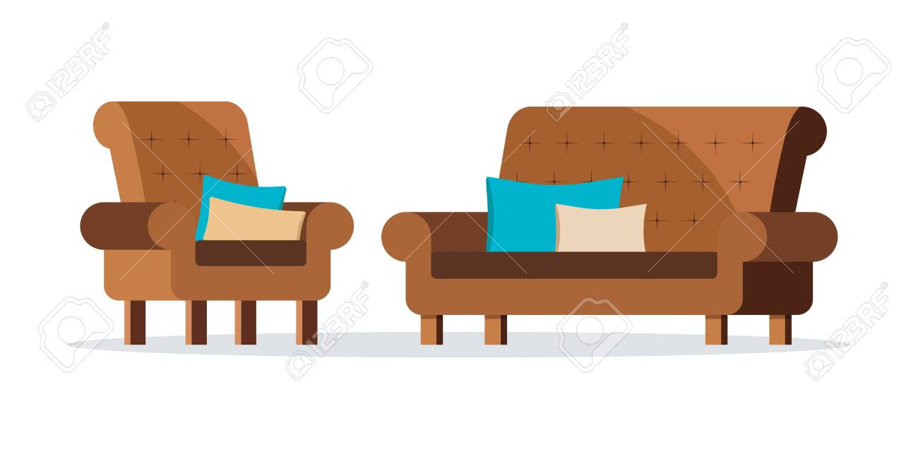 Isolated icons of brown color leather soft sofa and armchair..