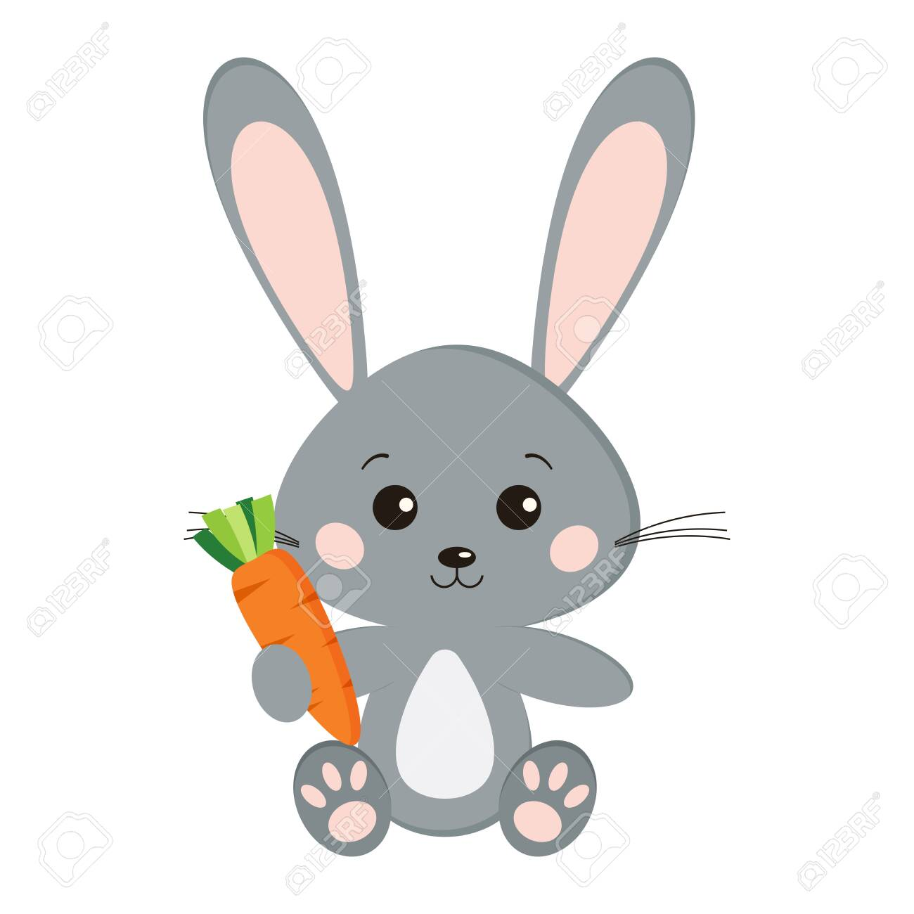 Image of sweet cute grey bunny rabbit in sitting pose with carrot in paw isolated on white background in cartoon style. Vector flat design characteres illustration. - 126428658