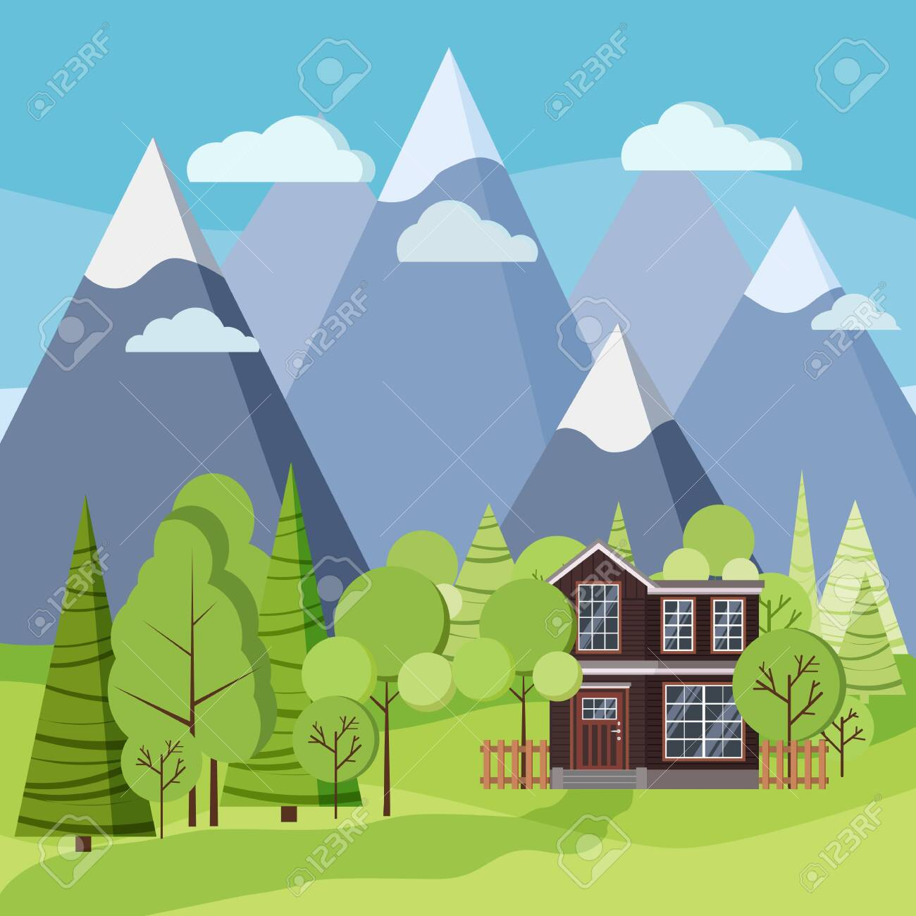 Spring or summer landscape scene with country two-story house with a fence, green trees, spruces, fields, clouds, mountains in flat cartoon style. Summer nature scene vector background illustration. - 126428660