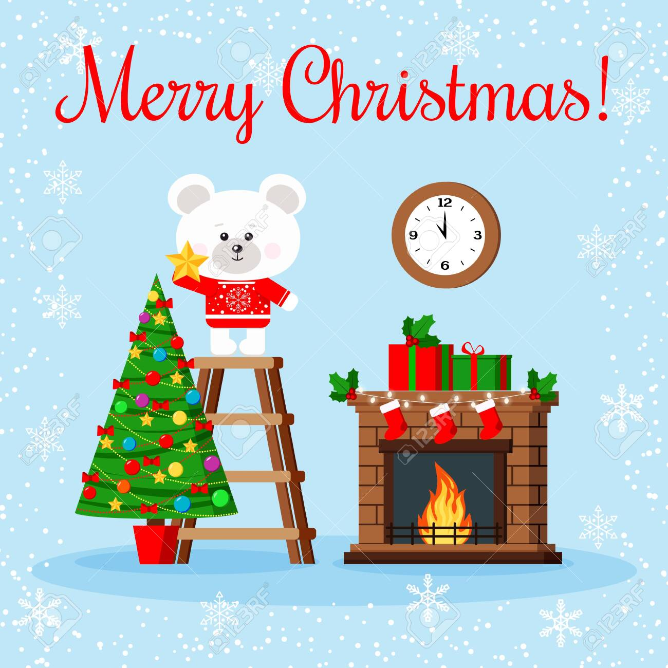 Christmas Wishes Bear.Christmas Greeting Card Cute Polar Bear In Red Sweater Puts Star