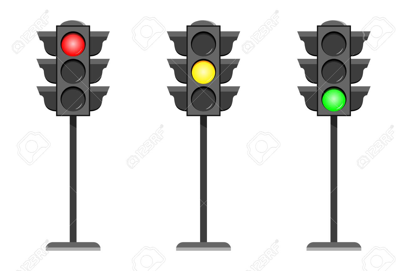 Vector concept traffic light interface icons. Typical horizontal traffic signals with red no, stop , yellow wait and green yes, go light. Flat design illustration set isolated on white background - 127146827