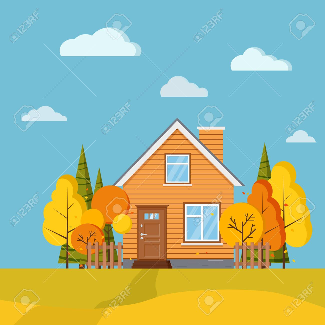Autumn Scenic Field Landscape Background With Yellow And Orange