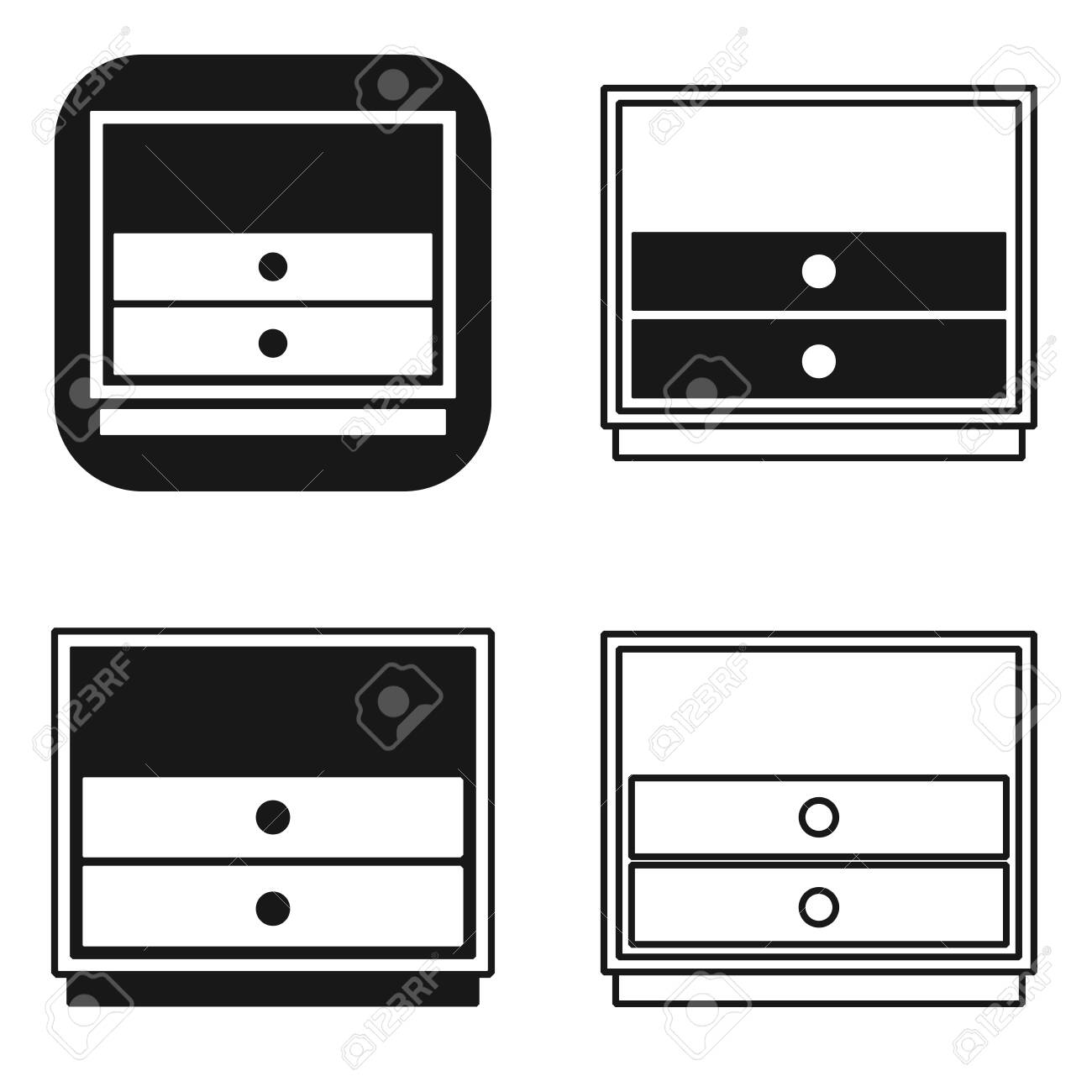Black And White Nightstand Bedside Icons Set Simple Linear Design Royalty Free Cliparts Vectors And Stock Illustration Image 130328811