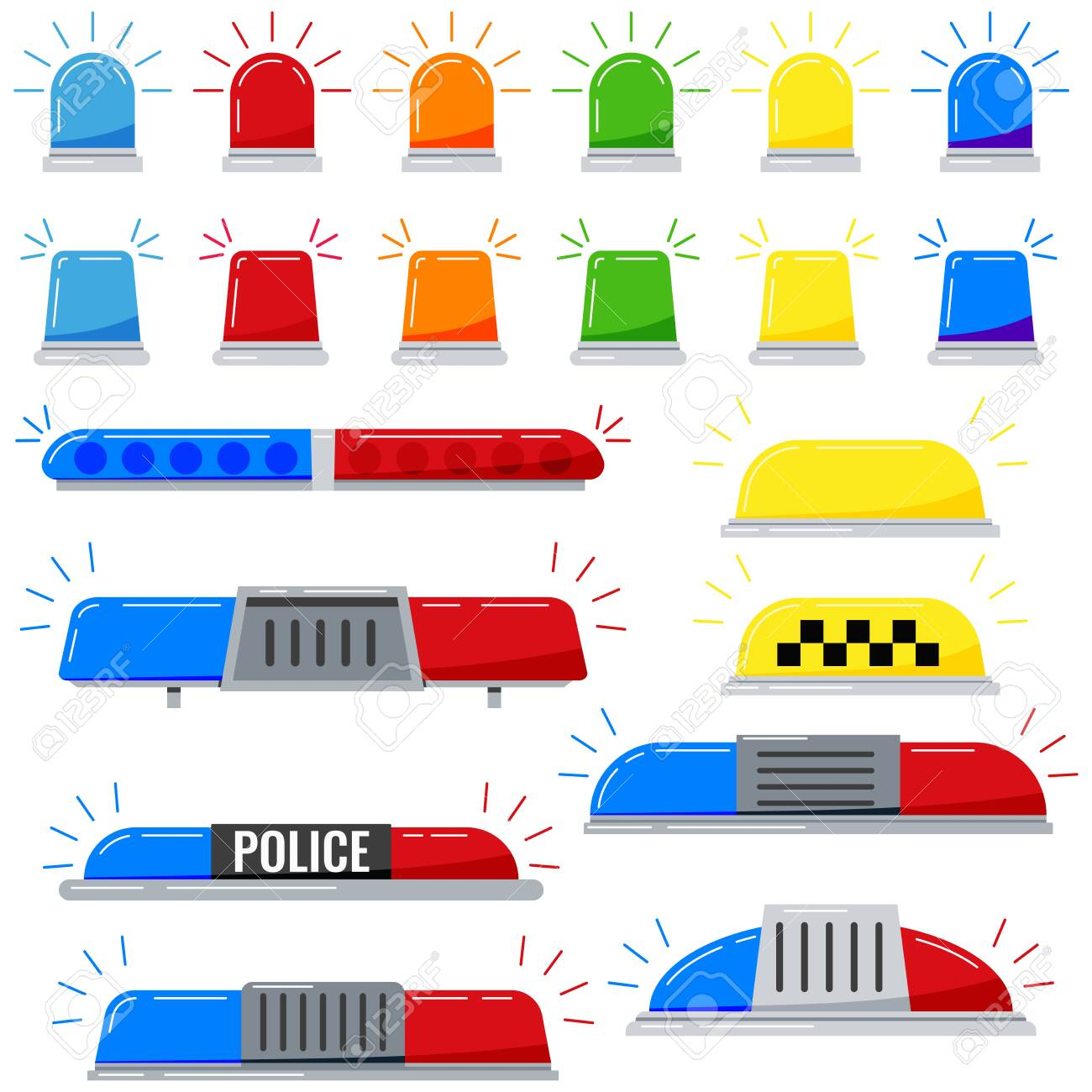 Flashers siren vector icon set isolated on white background. Red, blue, yellow, orange, green color alert flashing lights in a flat style. Siren police or ambulance light. - 139361033