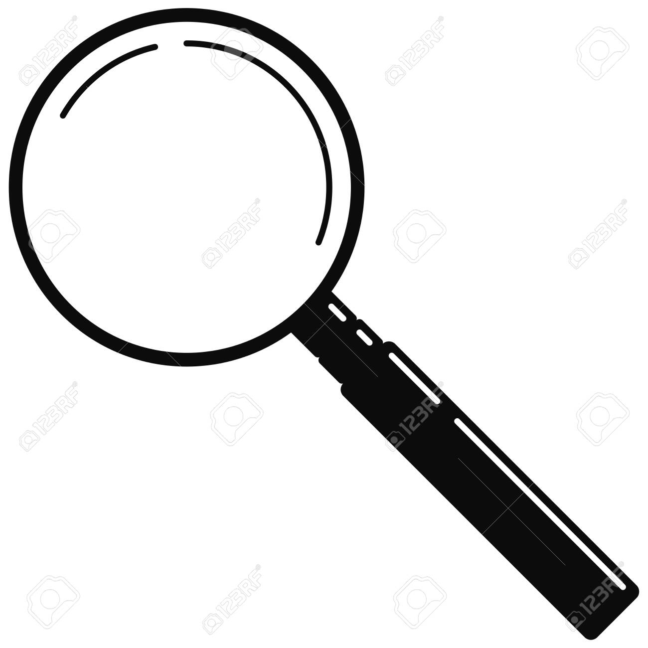 Black metal magnifying glass web icon isolated on white background. Simple search loupe with black handle. Business investigation illustration. Vector modern design magnifying glass logo for zoom tool - 140796148