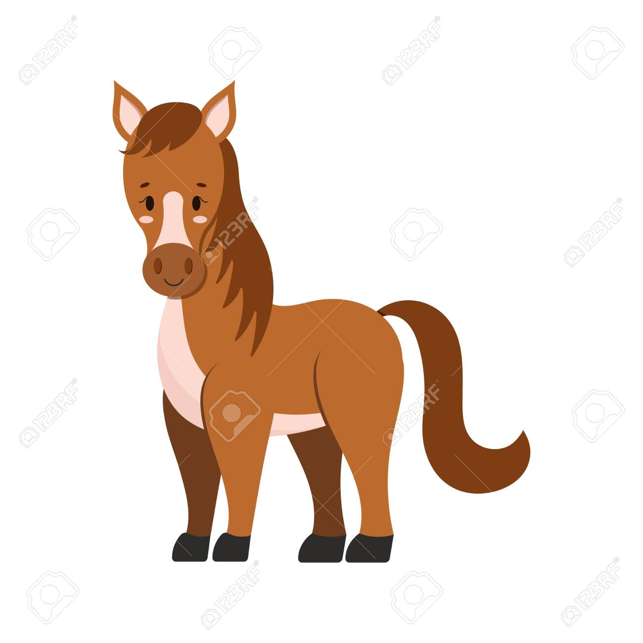 Cute Farm Horse Isolated On White Background Brown Color Funny Royalty Free Cliparts Vectors And Stock Illustration Image 147796879