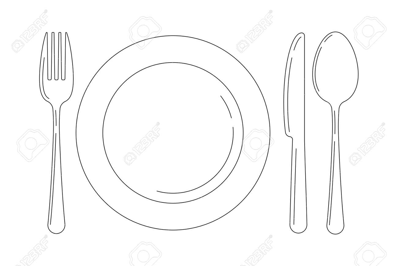 Silverware line art icon set isolated on white background. Top view lineart cutlery - fork knife spoon and serving plate design template. Vector flat design outline style illustration. - 157325429