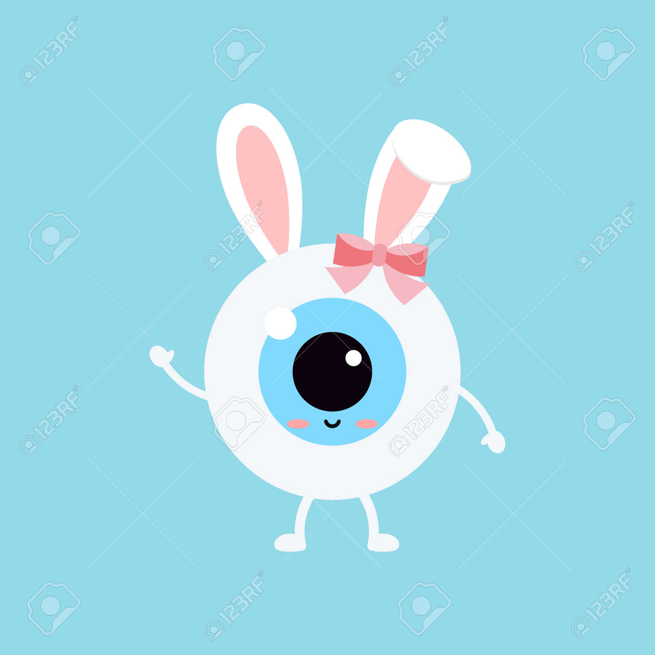 Easter cute eye ball with bunny ears icon. Ophthalmology eyeball girl character with face and easter bunny rabbit ears costume with bow. Flat design cartoon style vector vision clip art illustration. - 165386607