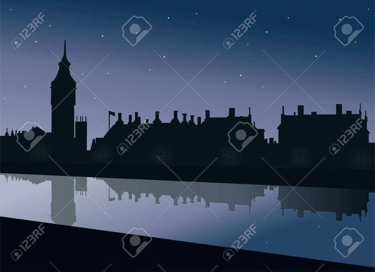 Du Westminster À Qui Vue Londres La Big Ben Lampes Brillent Talus Et Chevet Les Parliament Bleu Avec De Aux Sous Le Ciel Palais Tamise EIYWDH29