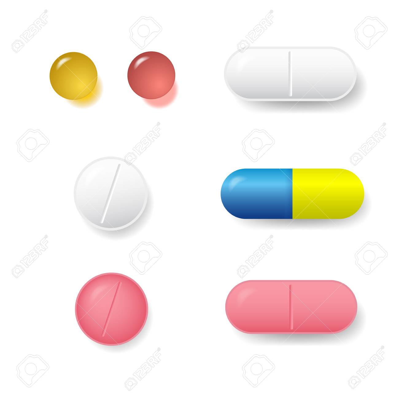 set of various vector pills and tablets isolated on white rh 123rf com vector pills ingredients vectra pills