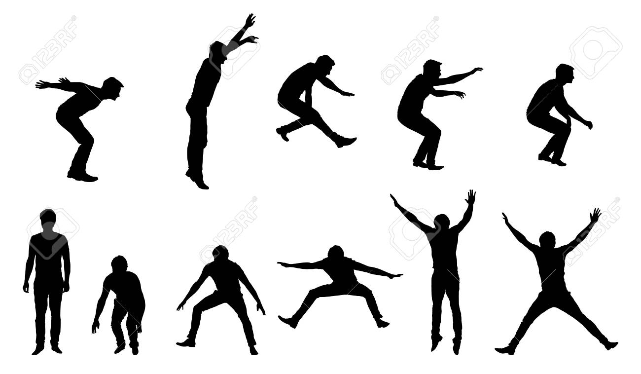 Set of vector silhouettes of young man in motion and jumping isolated on white background