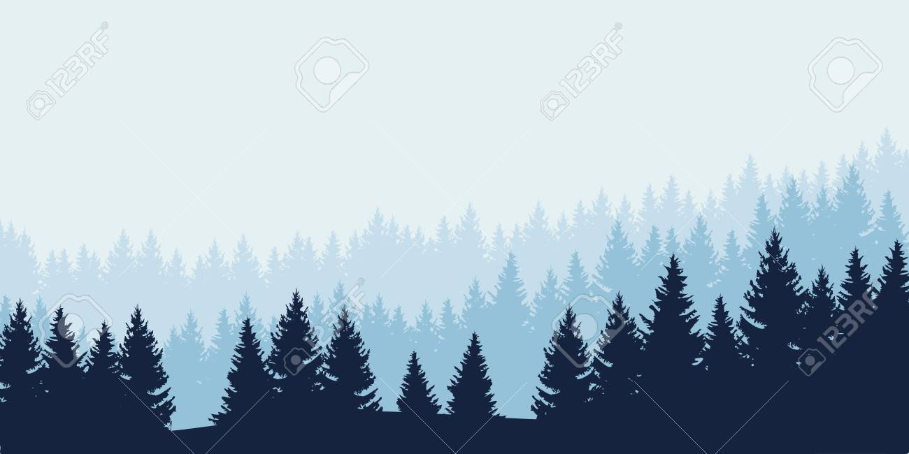 Panoramic view of landscape with blue forest under cloudy sky - vector - 82516692