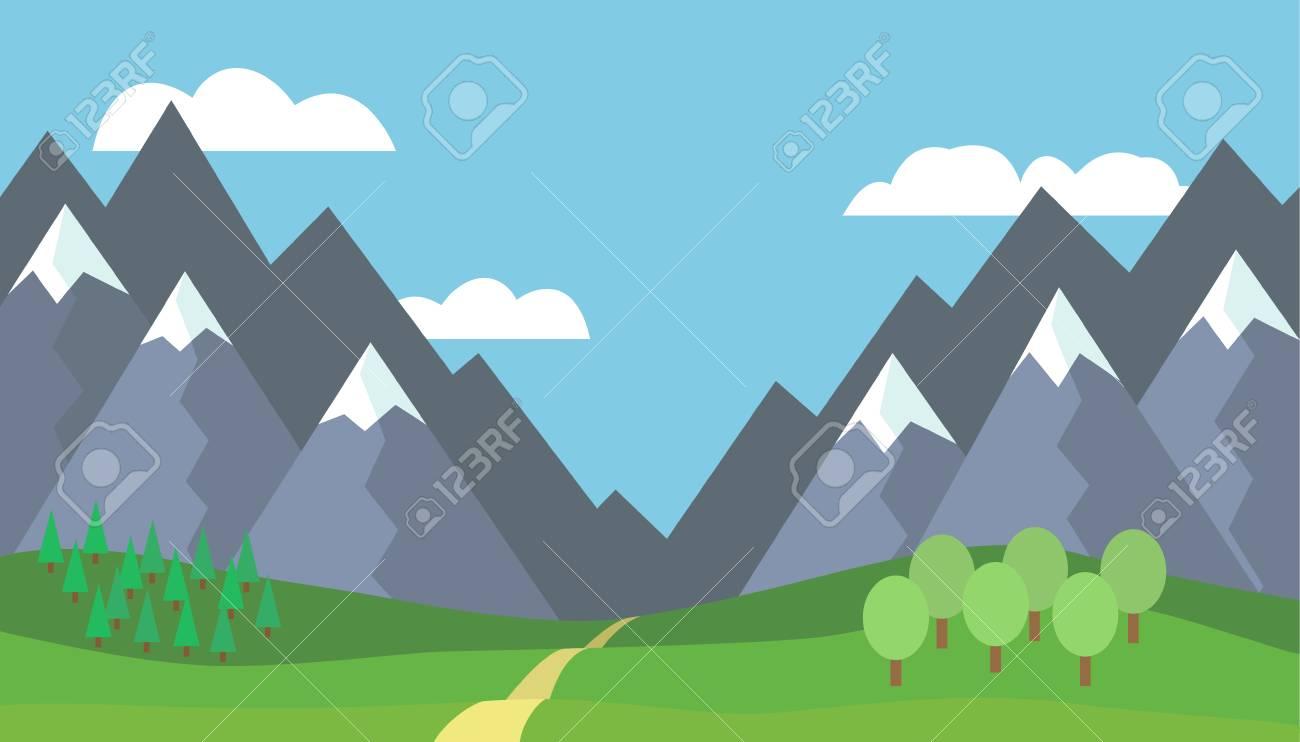 Paysage De Montagne De Dessin Anime Panoramique Avec Ciel Bleu Et Nuages Blancs Arbres Neige Sur Les Sommets Collines Et A Travers Les Montagnes Illustration Vectorielle Design Plat Clip Art Libres