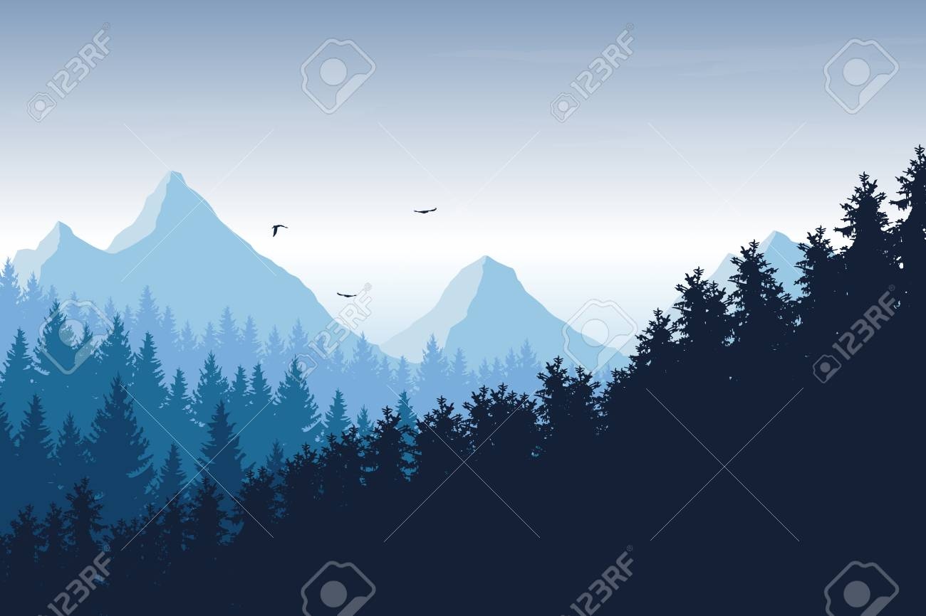 Vector illustration of mountain landscape with forest under blue sky with clouds and flying birds, with space for text - 90509056