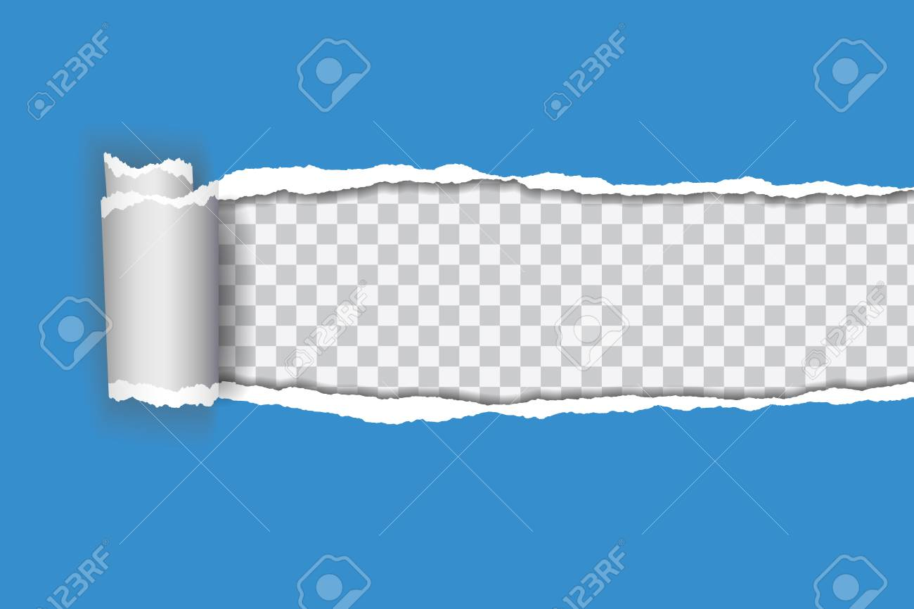 Vector realistic illustration of blue torn paper with rolled edge on transparent background with frame for text - 93701732