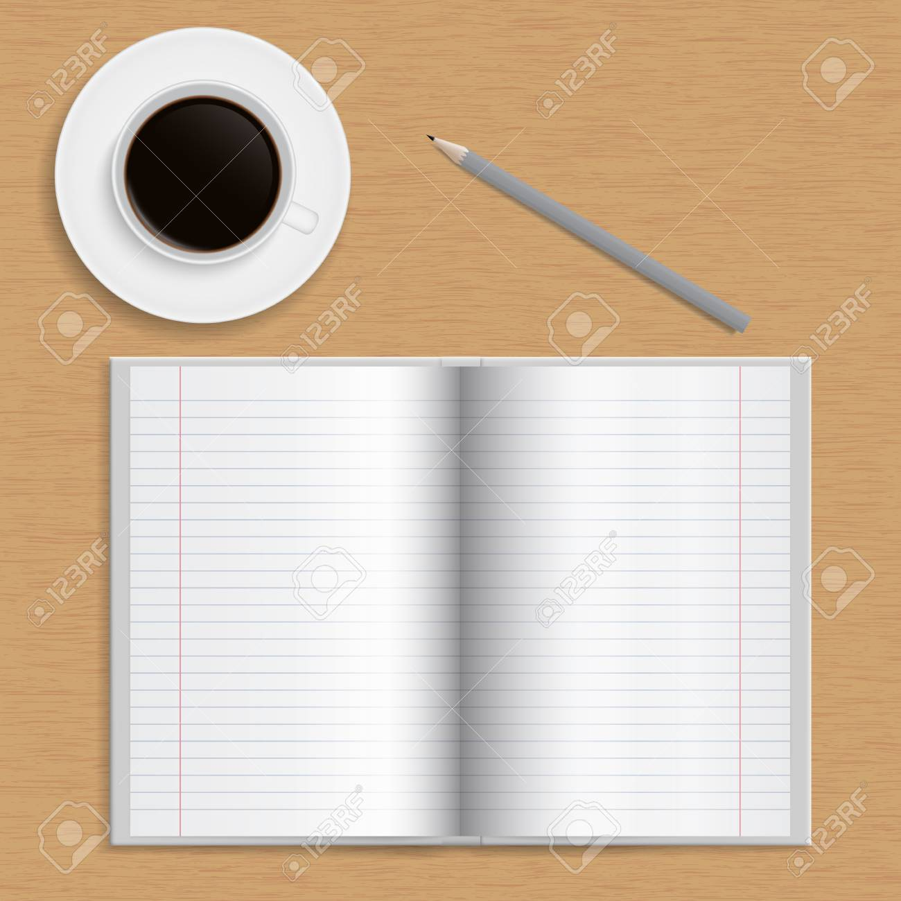 Realistic Open School Notebook With Lined Paper Pencil And A