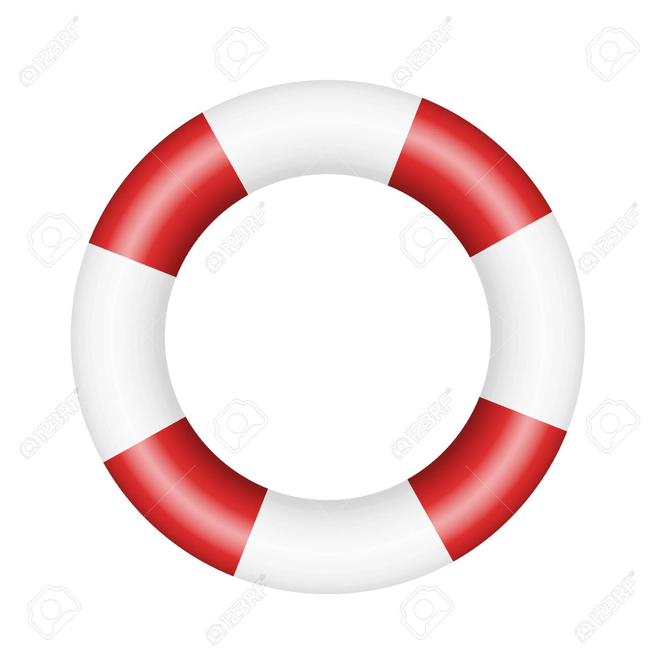 Realistic illustration of lifebuoy. Red and white circle isolated on white background - vector - 136890689
