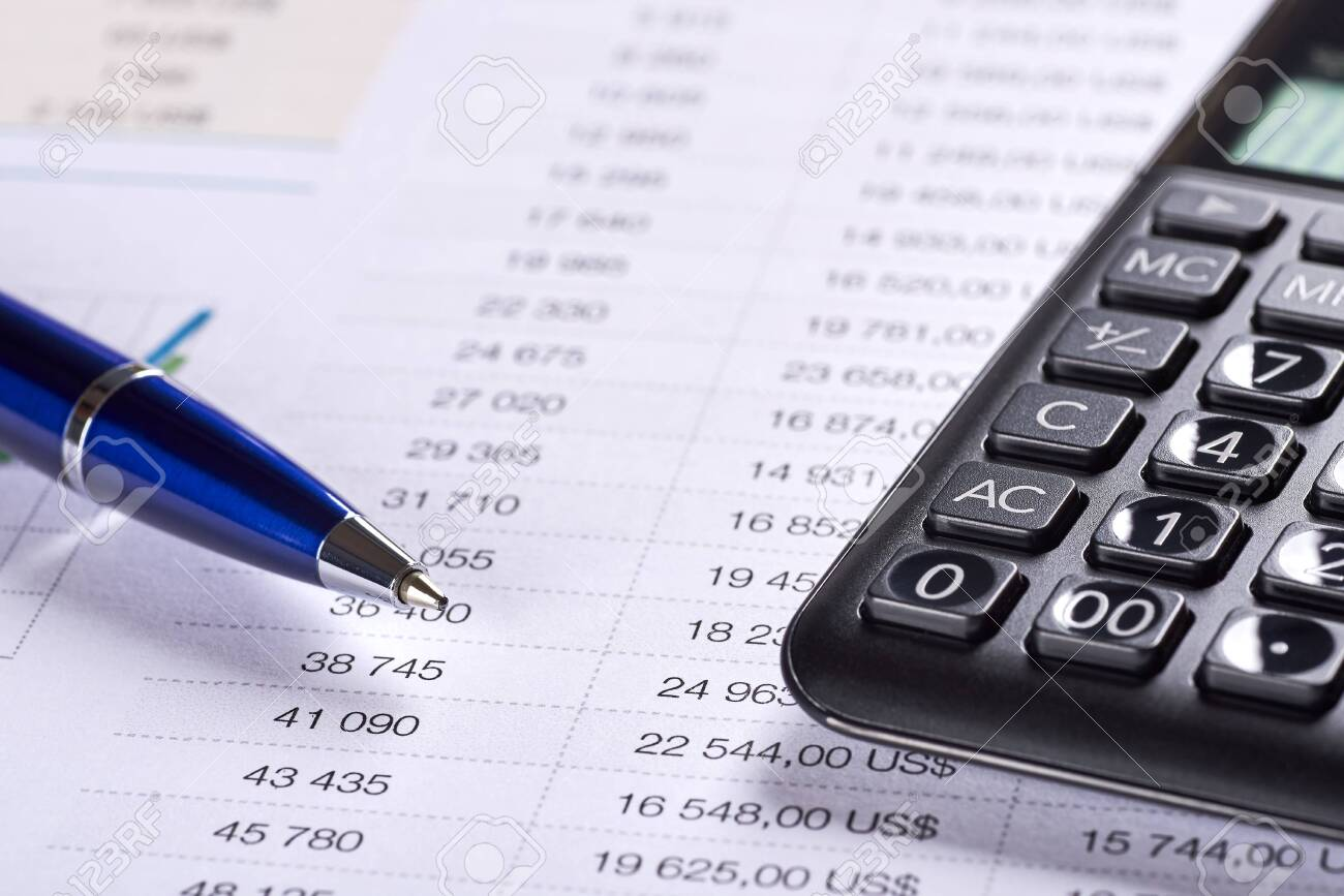 Office paper with table of numbers. Price analysis with dollar symbol, calculator and pen. Space for your text. - 142139262