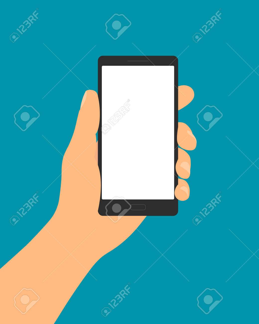 Flat design illustration of male hand holding in fingers mobile phone with blank white touch screen and space for your text.Isolated on green background - vector - 166247456