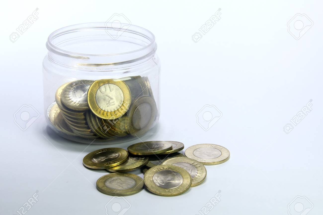 Indische Münzen Mit Zehn Rupien Plastikglas Lizenzfreie Fotos