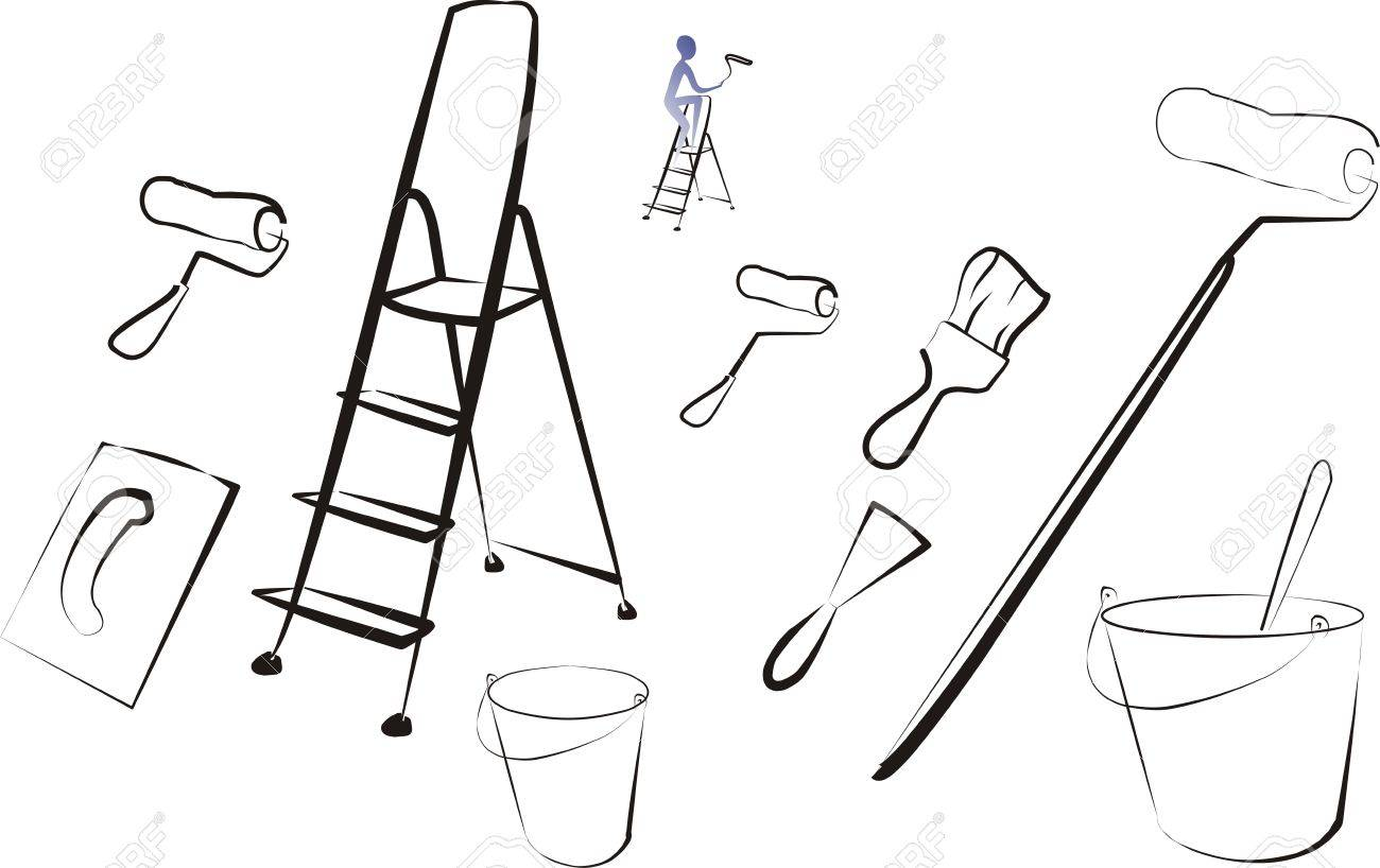 set of isolated painting tools and brushes Stock Vector - 8339339