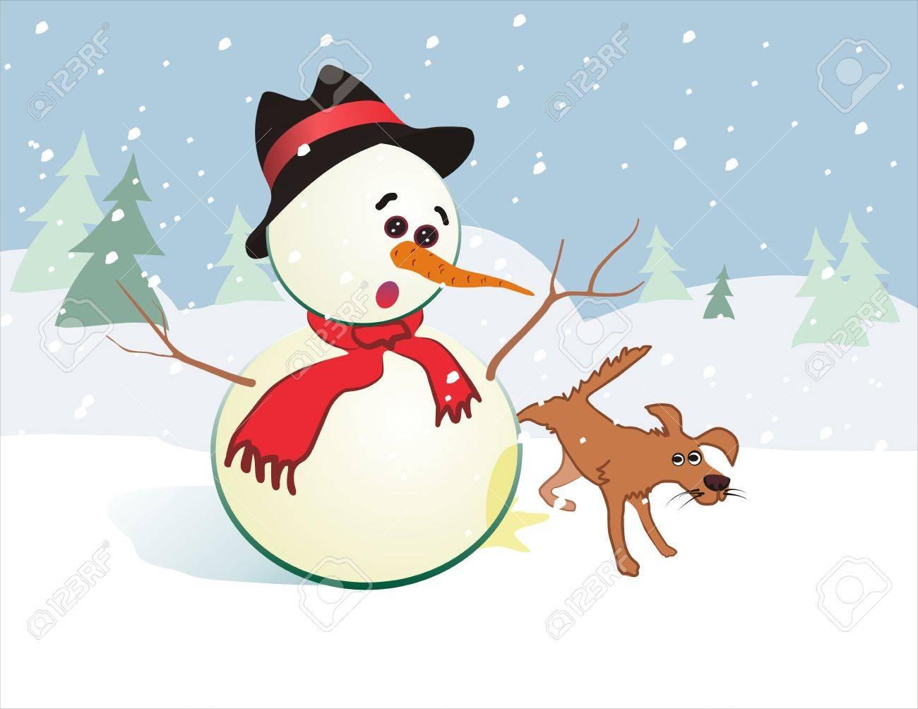 tarjeta de navidad divertida de mueco de nieve y perro foto de archivo
