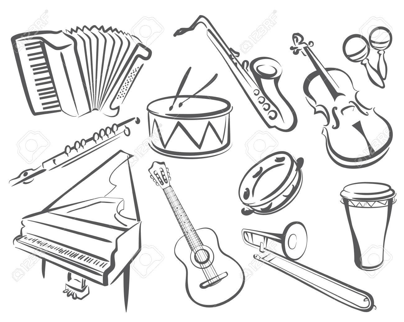 musical instruments set of icons in simple lines royalty free