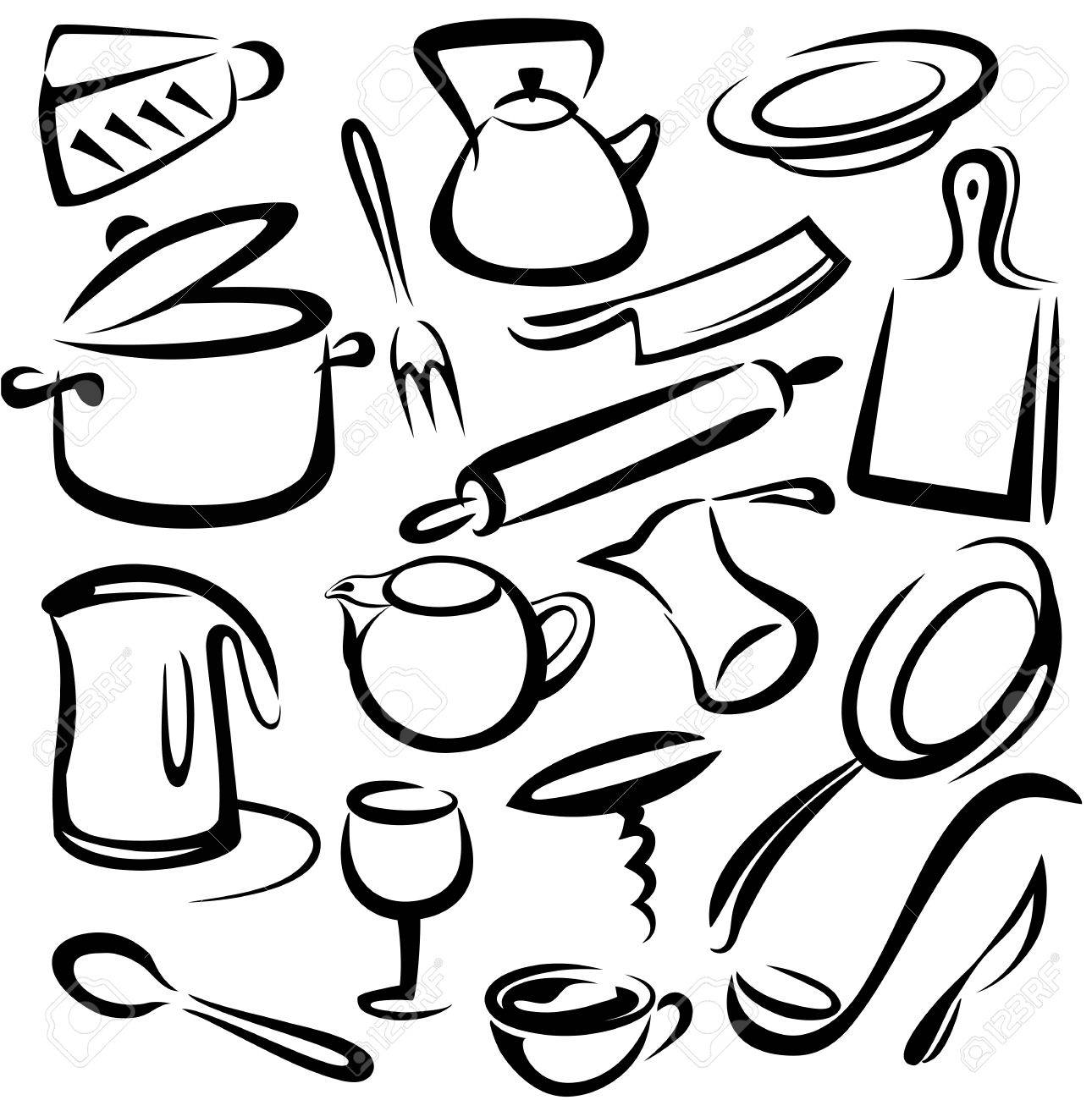 Kitchen tools drawing - Big Set Of Kitchen Tools Vector Sketch In Simple Black Lines Stock Vector 22336500