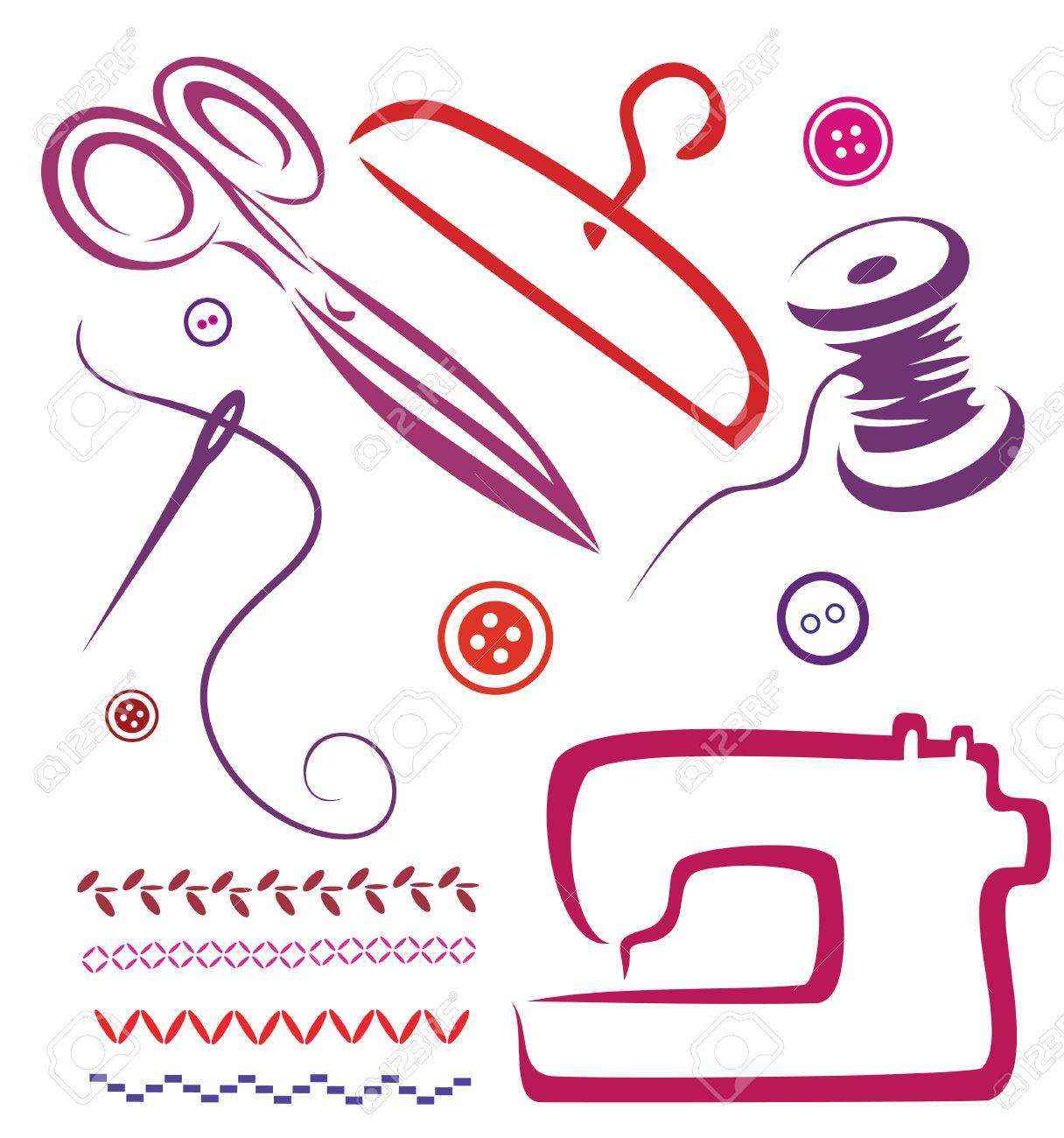 Sewing Tools And Objects Set Vector Illustration In Simple Lines Stock