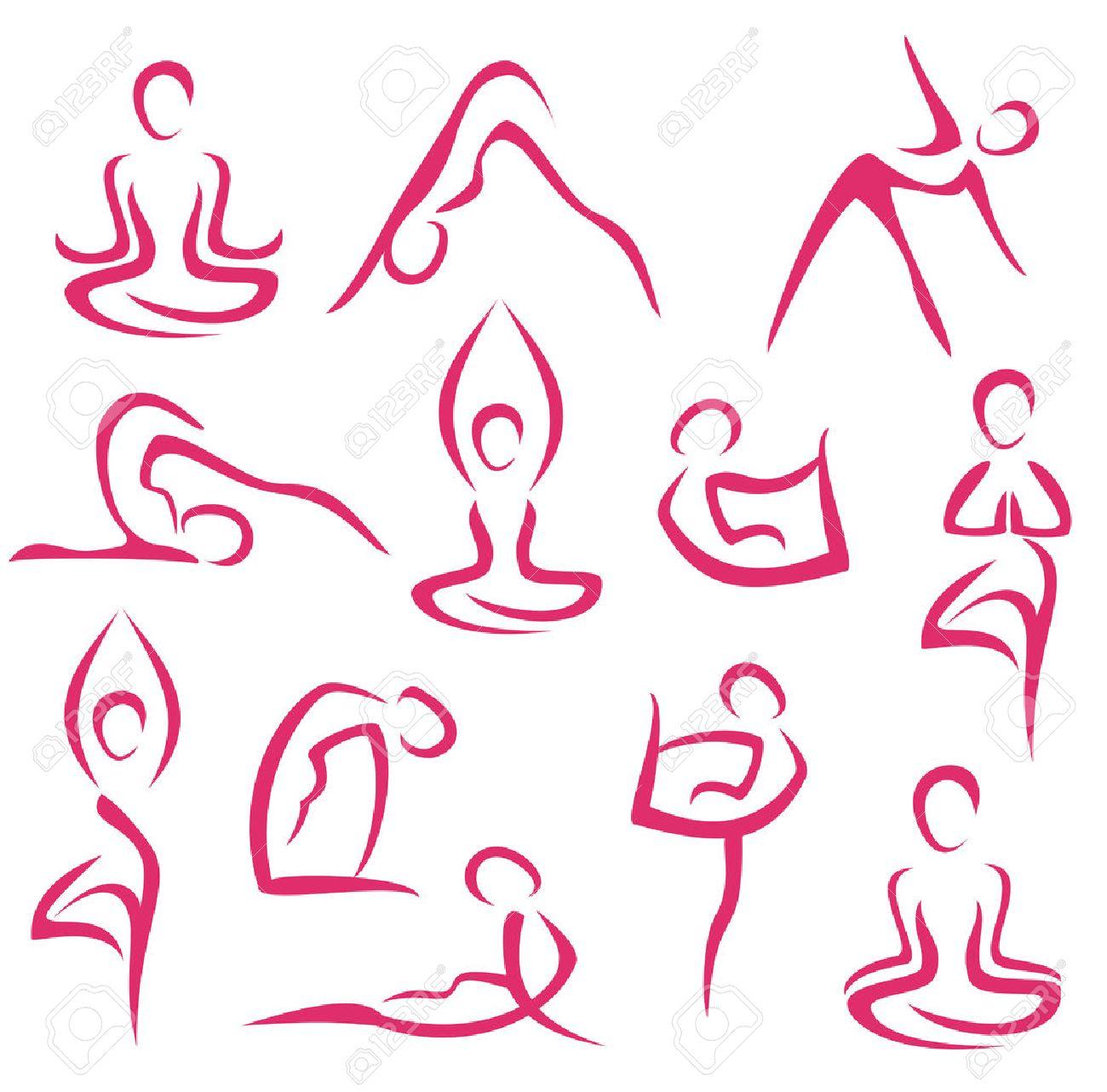 big set of yoga, pilates symbols - 22336533