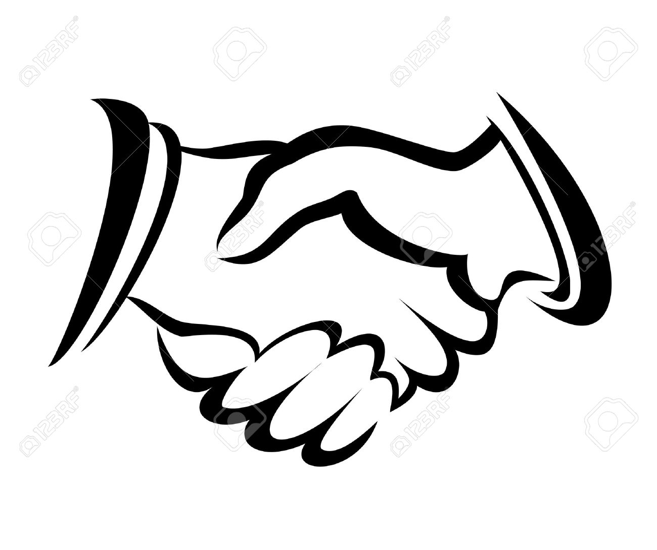 Shake Hand Handshake Symbol Vector Sketch In Simple Lines