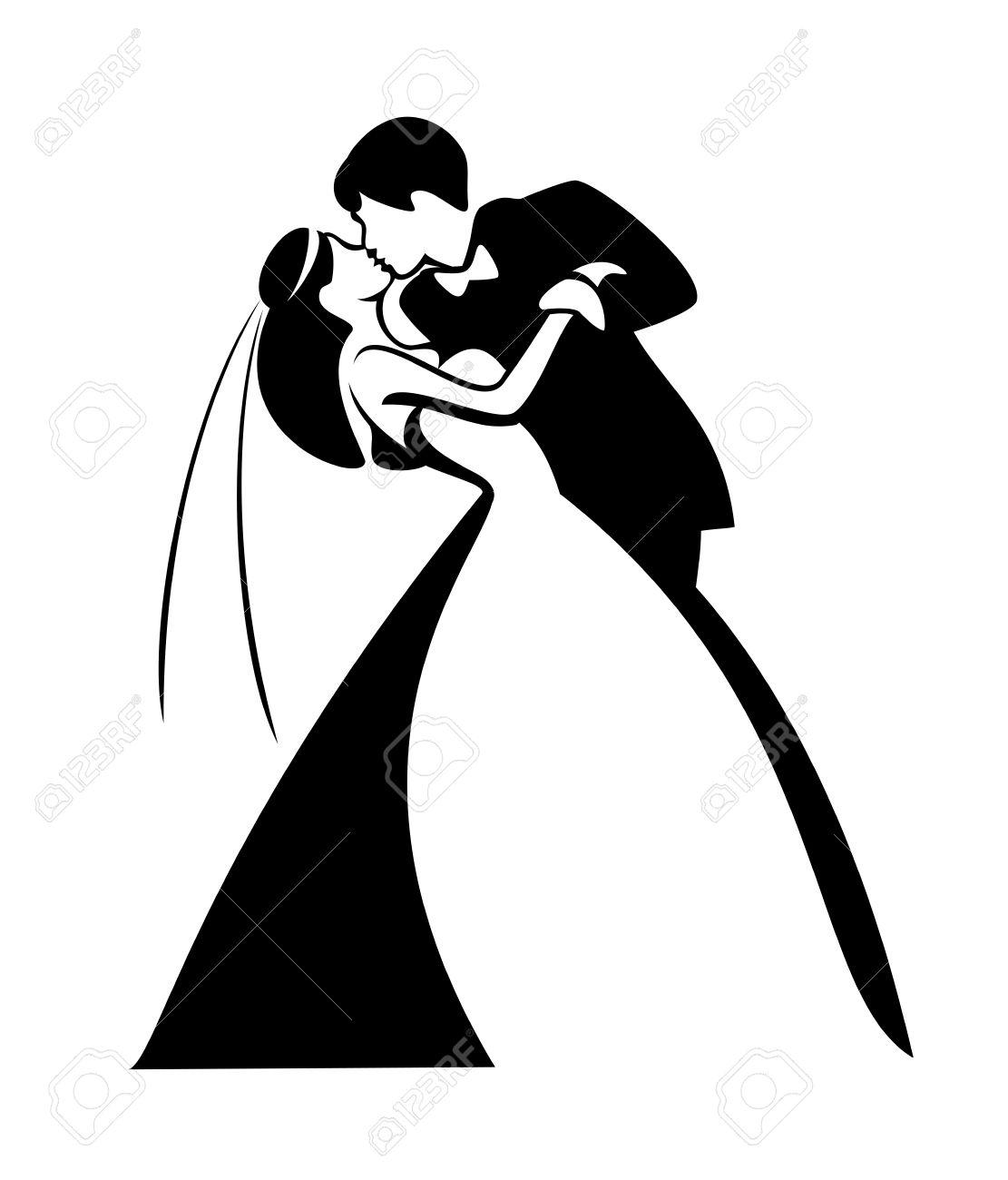 新婚夫婦、カップル、キス ベクトル イラスト ロイヤリティフリー