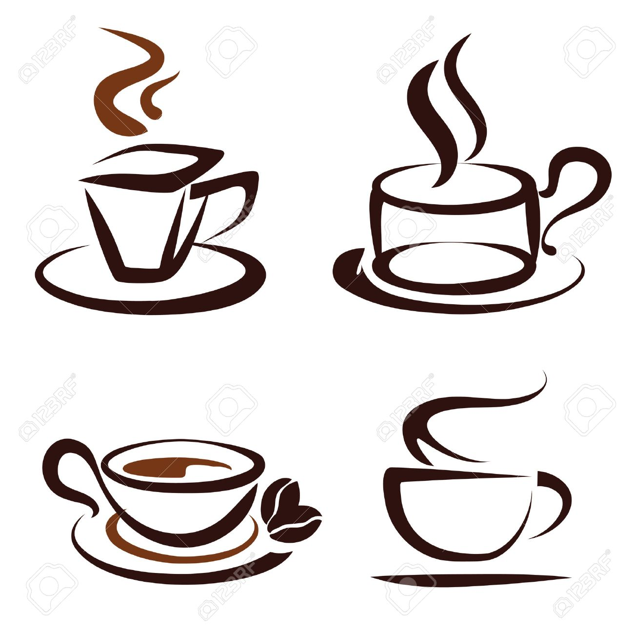 Coffee cup sketch - Vector Set Of Coffee Cups Icons Stylized Sketch Symbols Stock Vector 22337937