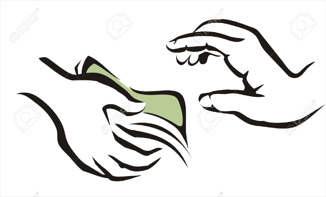 giving a money symbol from one hand to onother - 22338639