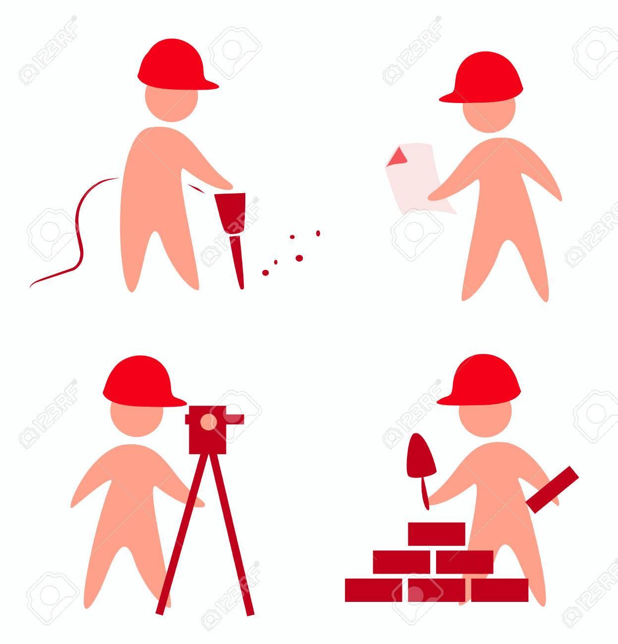 builders icons in simple figures Stock Vector - 22348406