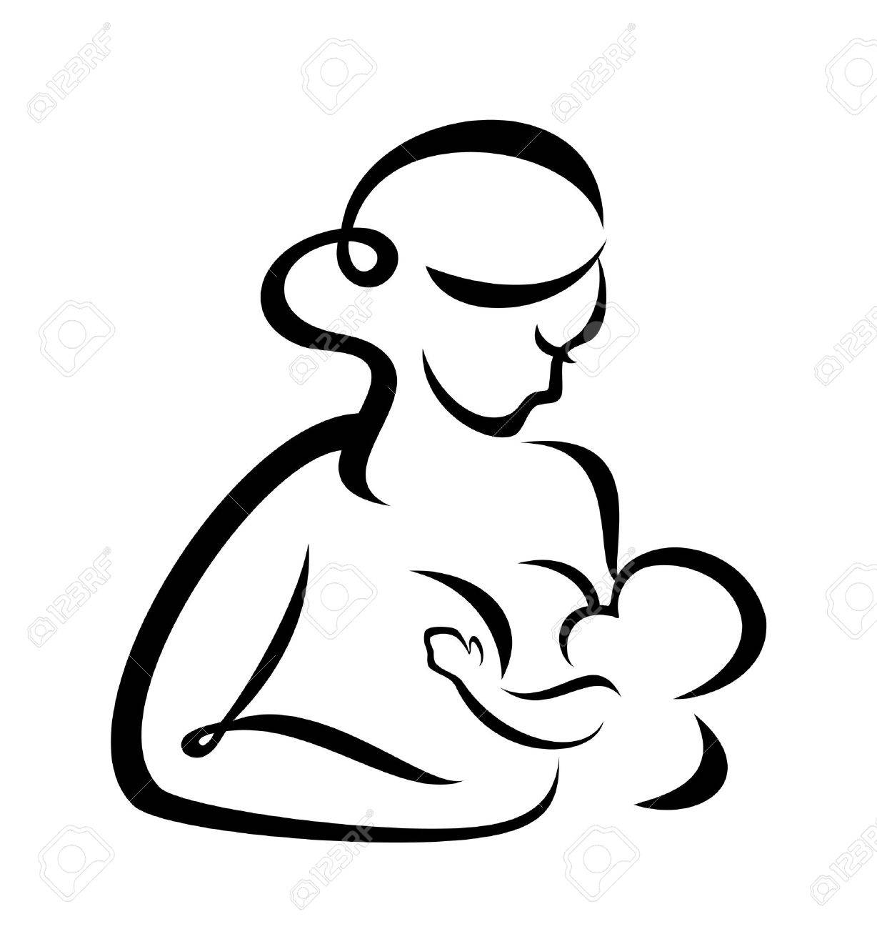 young woman breastfeeding her baby symbol - 22348487