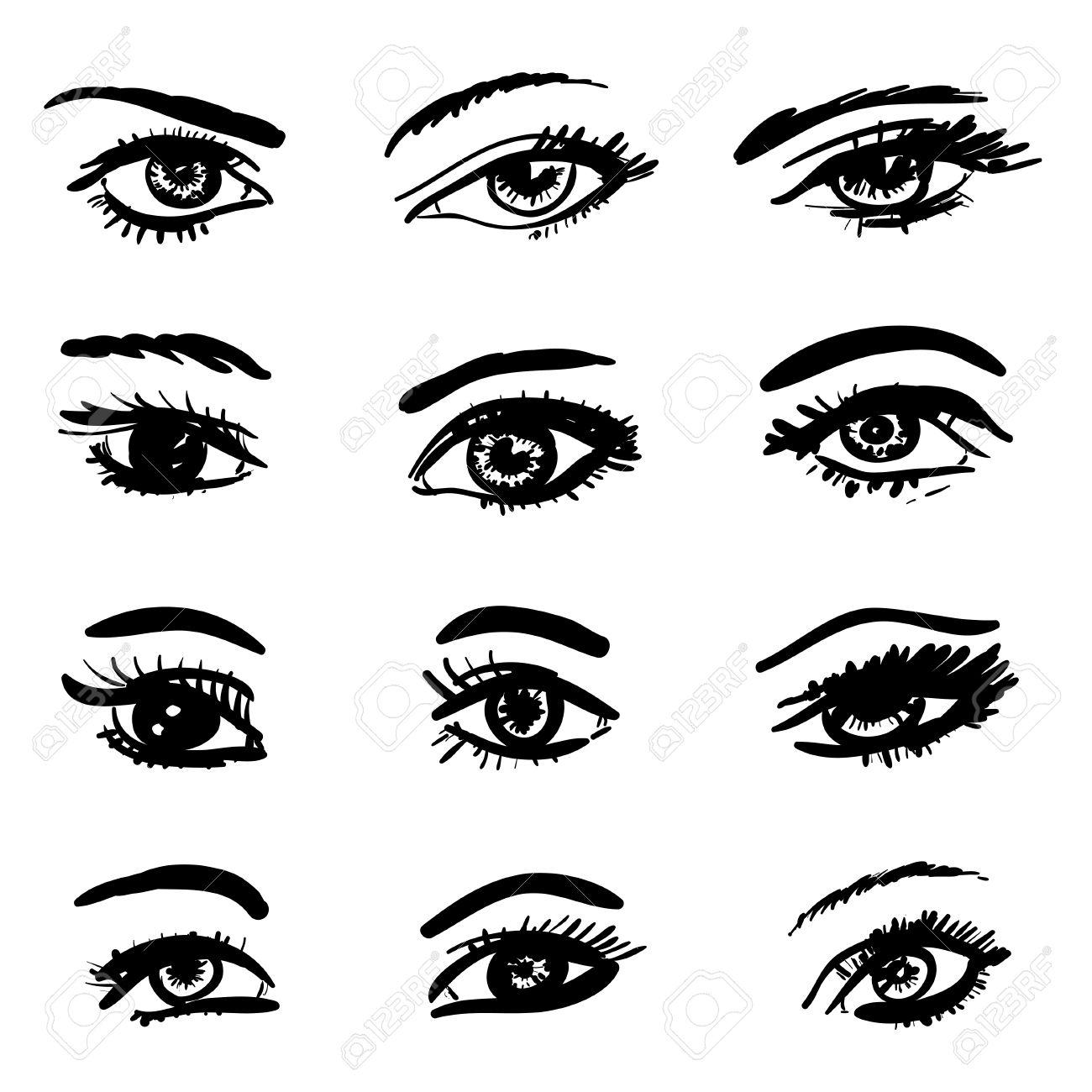 Контуры глаз рисовать