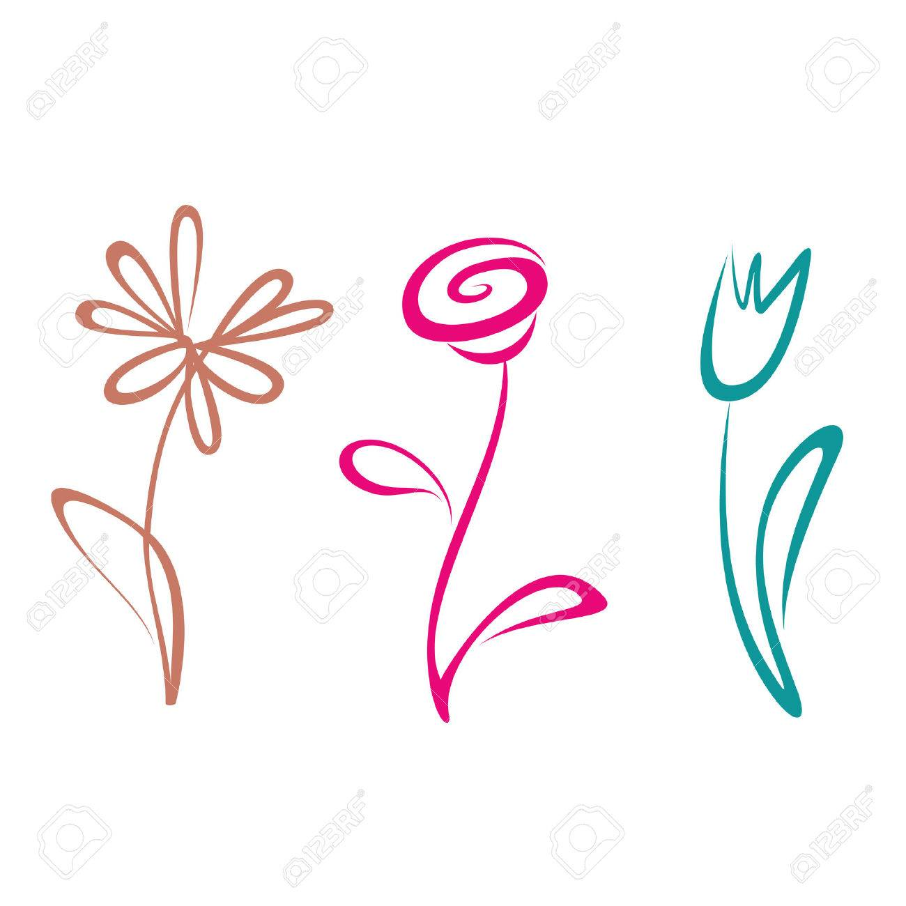 outlined hand drawn flower collection Stock Vector - 24026345