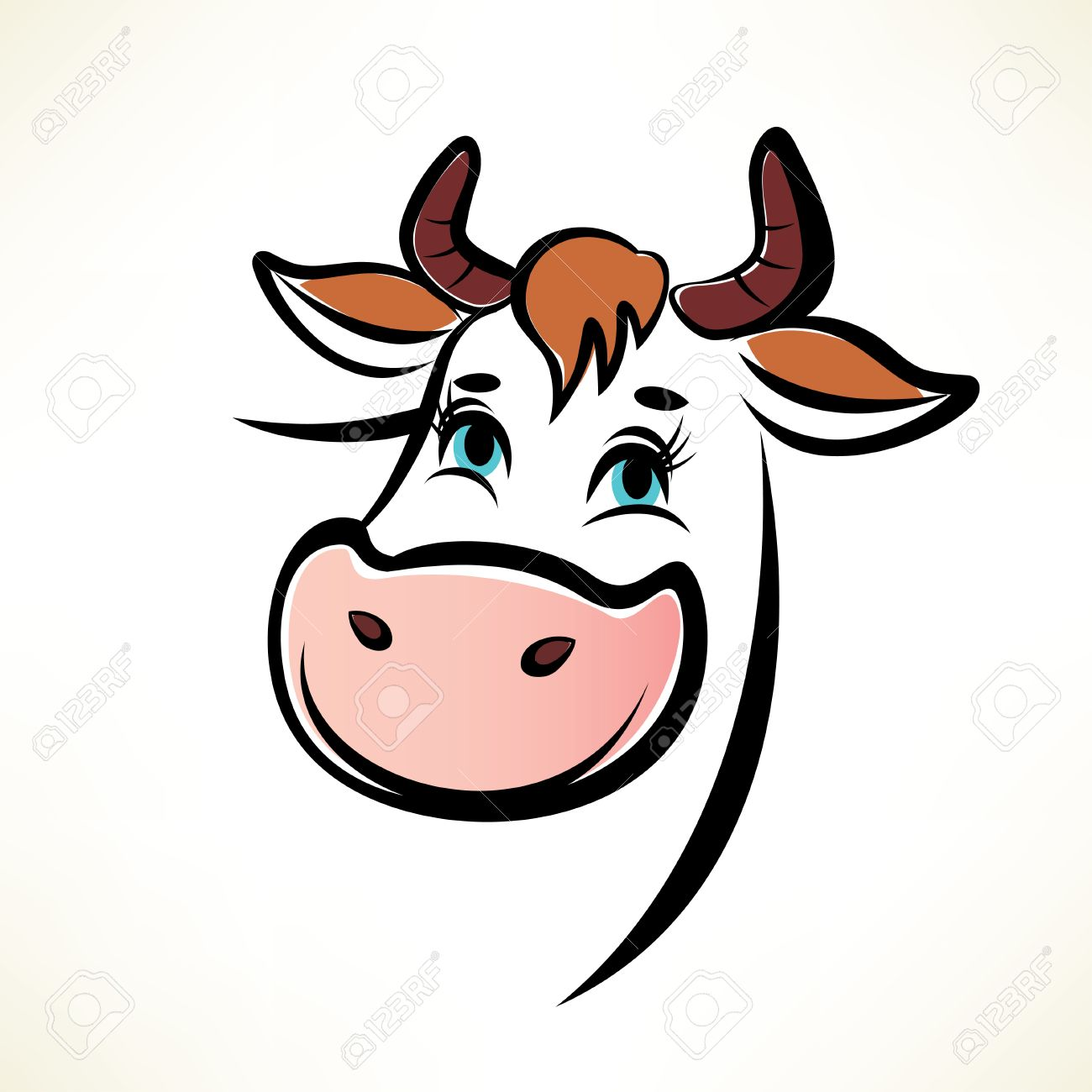 Happy Cow Portrait Royalty Free Cliparts Vectors And Stock Illustration Image 26039530