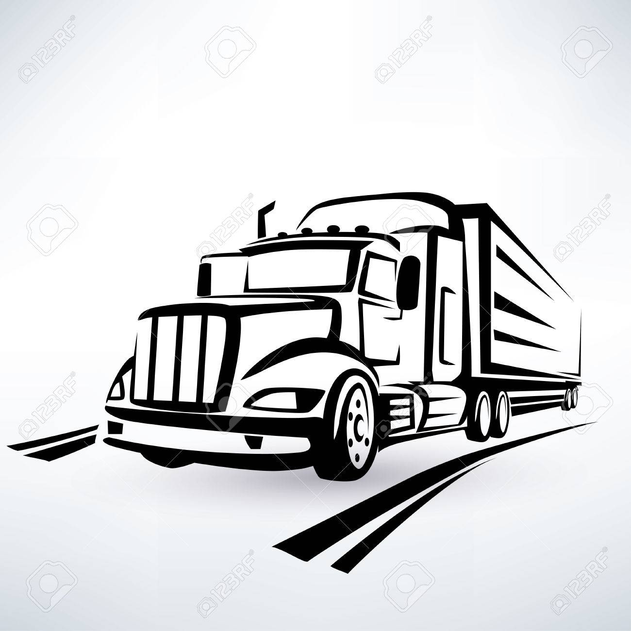 american lorry vector silhouette, truck outlined sketch - 28455783
