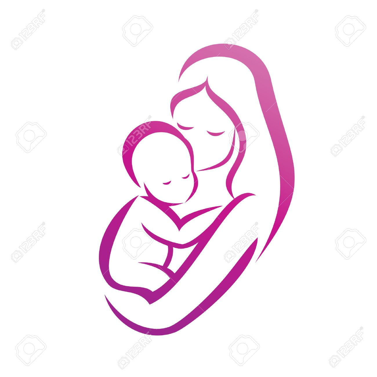 mother and her baby silhouette, isolated vector symbol - 28455812